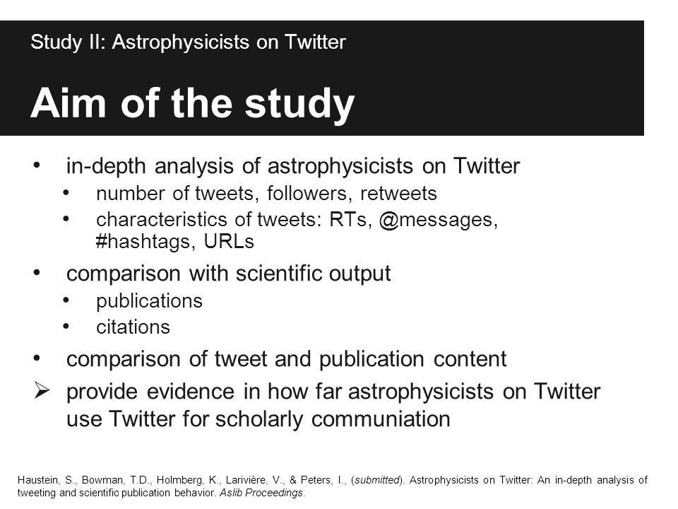 Aim of the study in-depth analysis of astrophysicists on Twitter number of tweets, followers, retweets characteristics of tweets: RTs, @messages, #has