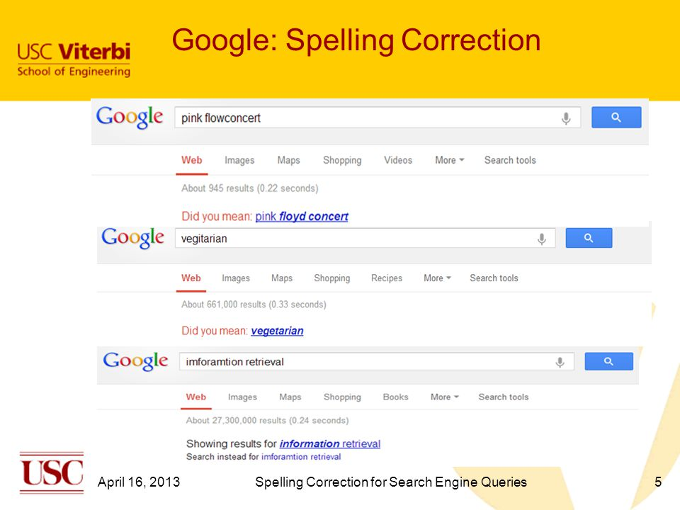 Google: Spelling Correction 5April 16, 2013Spelling Correction for Search Engine Queries