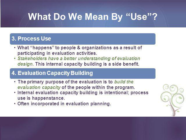 """3. Process Use What """"happens"""" to people & organizations as a result of participating in evaluation activities. Stakeholders have a better understandin"""
