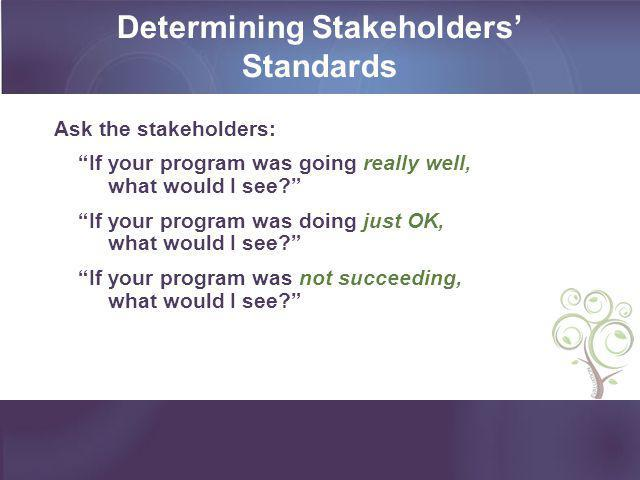 """Determining Stakeholders' Standards Ask the stakeholders: """"If your program was going really well, what would I see?"""" """"If your program was doing just O"""