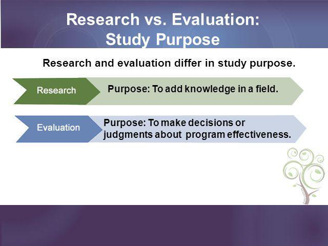 Research vs. Evaluation: Study Purpose Purpose: To add knowledge in a field. Purpose: To make decisions or judgments about program effectiveness. Rese