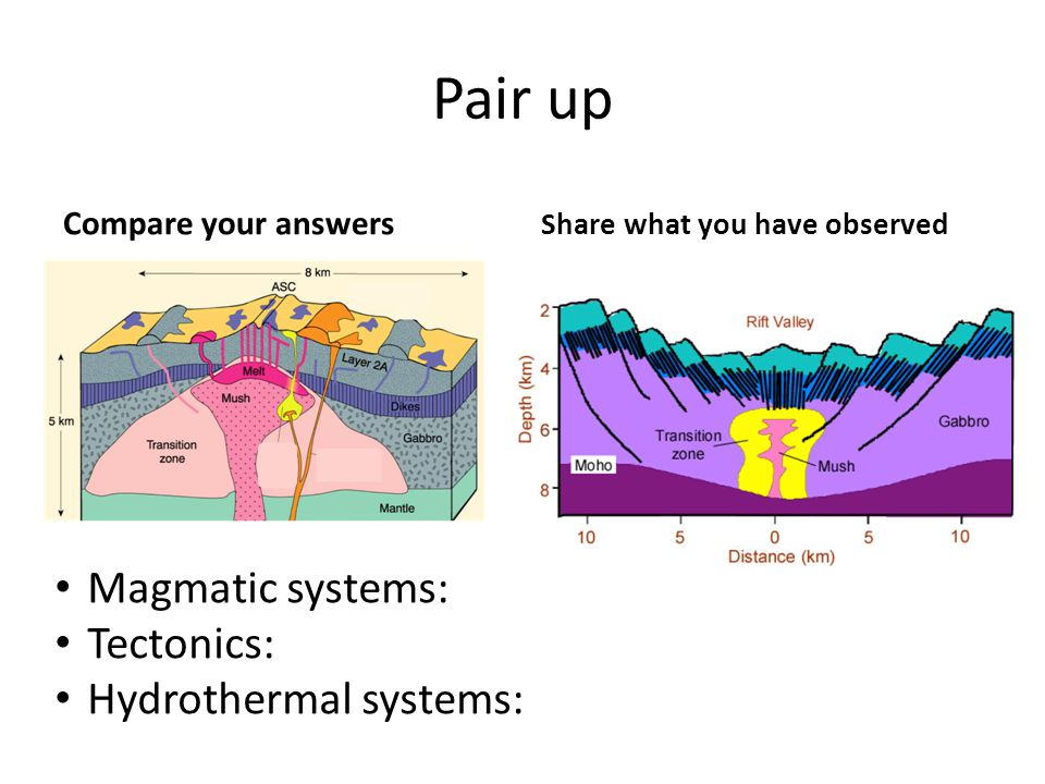 Pair up Compare your answers Share what you have observed Magmatic systems: Tectonics: Hydrothermal systems: