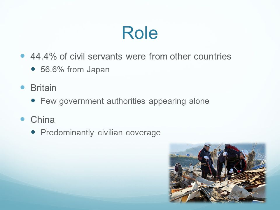 Role 44.4% of civil servants were from other countries 56.6% from Japan Britain Few government authorities appearing alone China Predominantly civilian coverage
