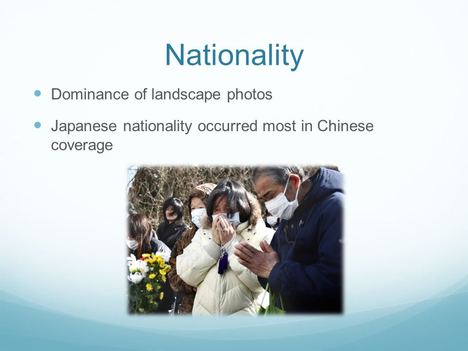 Nationality Dominance of landscape photos Japanese nationality occurred most in Chinese coverage