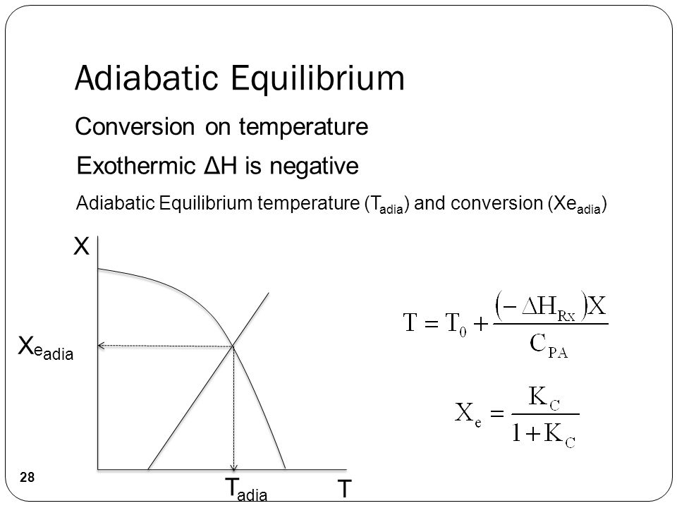 Conversion on temperature Exothermic ΔH is negative Adiabatic Equilibrium temperature (T adia ) and conversion (Xe adia ) X X e adia T adia T 28 Adiabatic Equilibrium