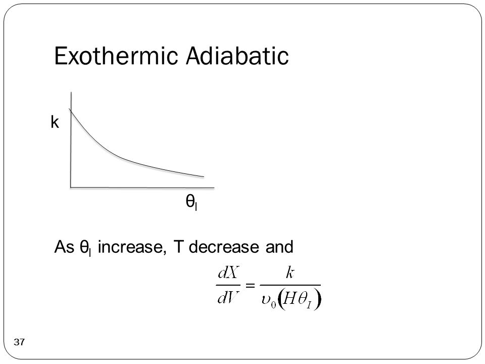 Exothermic Adiabatic 37 As θ I increase, T decrease and k θIθI
