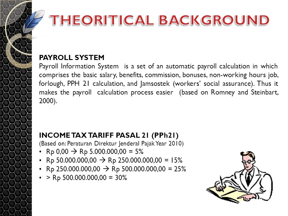 PAYROLL SYSTEM Payroll Information System is a set of an automatic payroll calculation in which comprises the basic salary, benefits, commission, bonuses, non-working hours job, forlough, PPH 21 calculation, and Jamsostek (workers' social assurance).