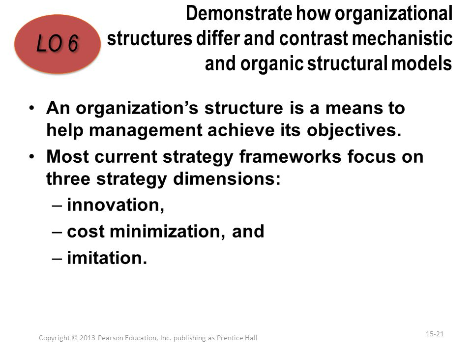 Demonstrate how organizational structures differ and contrast mechanistic and organic structural models An organization's structure is a means to help