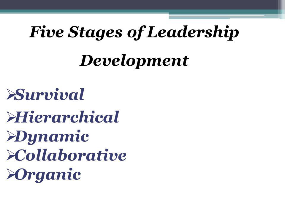 Five Stages of Leadership Development  Survival  Hierarchical  Dynamic  Collaborative  Organic