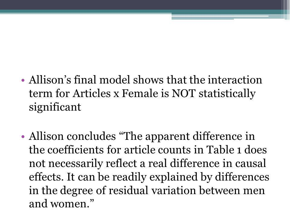 "Allison's final model shows that the interaction term for Articles x Female is NOT statistically significant Allison concludes ""The apparent differenc"