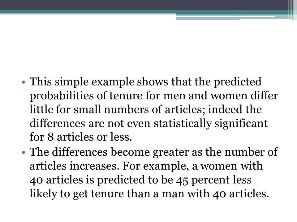 This simple example shows that the predicted probabilities of tenure for men and women differ little for small numbers of articles; indeed the differe