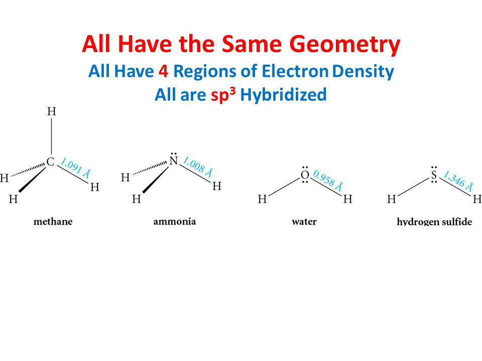 All Have the Same Geometry All Have 4 Regions of Electron Density All are sp 3 Hybridized