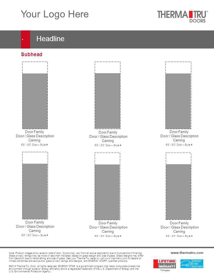 Subhead Door Family Door / Glass Description Caming 6'8