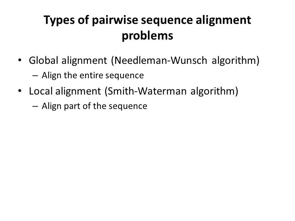 Types of pairwise sequence alignment problems Global alignment (Needleman-Wunsch algorithm) – Align the entire sequence Local alignment (Smith-Waterma
