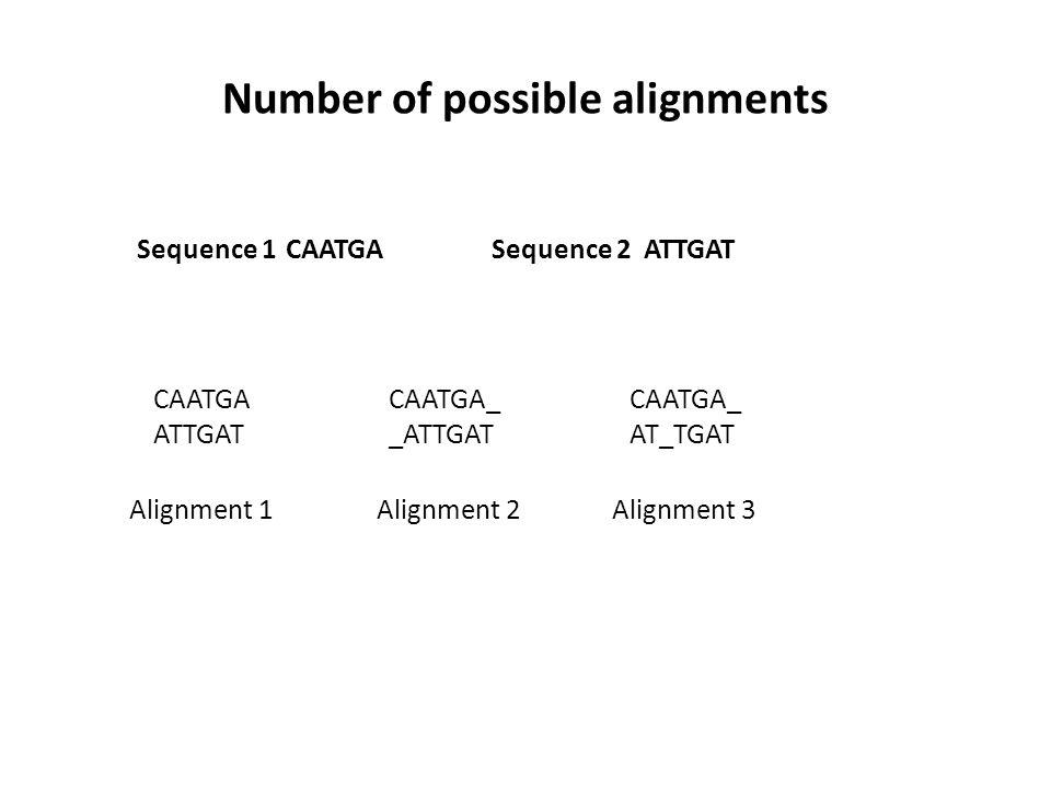 Number of possible alignments CAATGAATTGATSequence 1Sequence 2 CAATGA_ _ATTGAT CAATGA ATTGAT CAATGA_ AT_TGAT Alignment 1Alignment 2Alignment 3