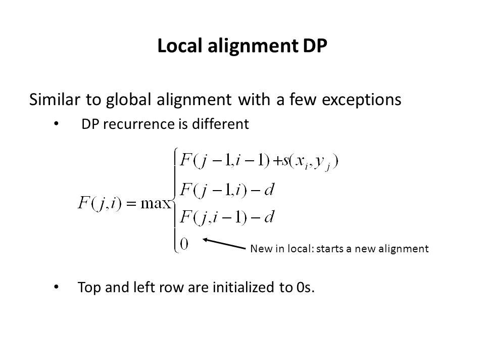 Local alignment DP Similar to global alignment with a few exceptions DP recurrence is different Top and left row are initialized to 0s.
