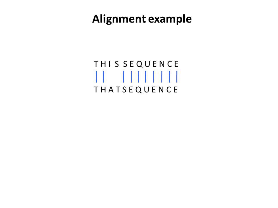 Alignment example T H I S S E Q U E N C E T H A T S E Q U E N C E