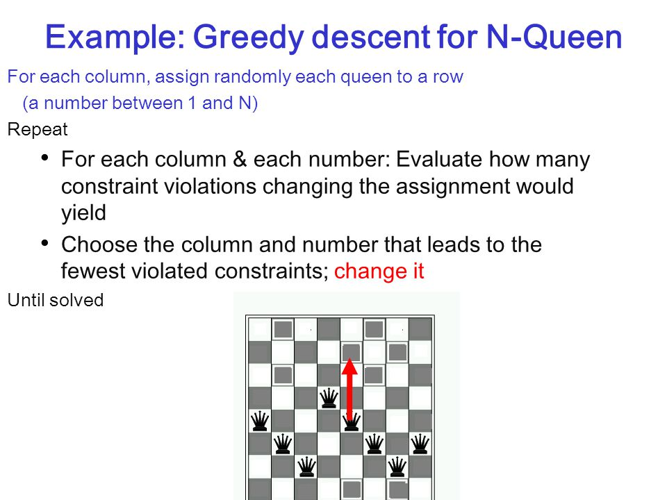 16 Example: Greedy descent for N-Queen For each column, assign randomly each queen to a row (a number between 1 and N) Repeat For each column & each number: Evaluate how many constraint violations changing the assignment would yield Choose the column and number that leads to the fewest violated constraints; change it Until solved