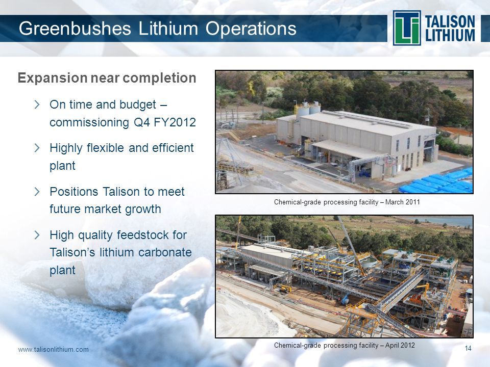 www.talisonlithium.com 14 Expansion near completion On time and budget – commissioning Q4 FY2012 Highly flexible and efficient plant Positions Talison to meet future market growth High quality feedstock for Talison's lithium carbonate plant Greenbushes Lithium Operations Chemical-grade processing facility – March 2011 Chemical-grade processing facility – April 2012