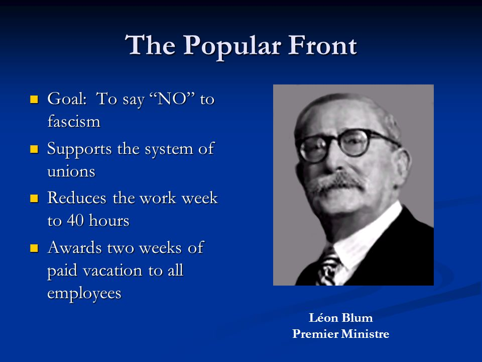 The Popular Front Goal: To say NO to fascism Goal: To say NO to fascism Supports the system of unions Supports the system of unions Reduces the work week to 40 hours Reduces the work week to 40 hours Awards two weeks of paid vacation to all employees Awards two weeks of paid vacation to all employees Léon Blum Premier Ministre