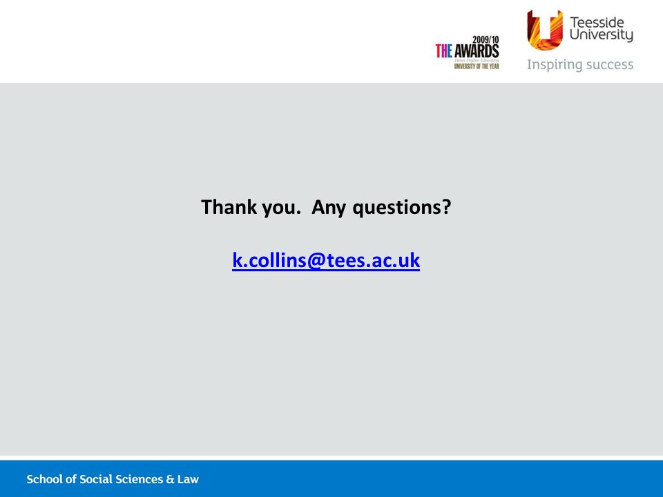 Thank you. Any questions k.collins@tees.ac.uk