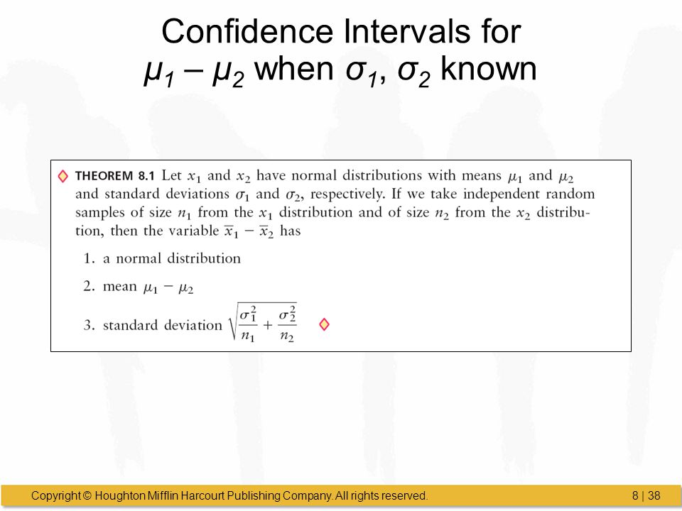 Copyright © Houghton Mifflin Harcourt Publishing Company. All rights reserved.8 | 38 Confidence Intervals for μ 1 – μ 2 when σ 1, σ 2 known