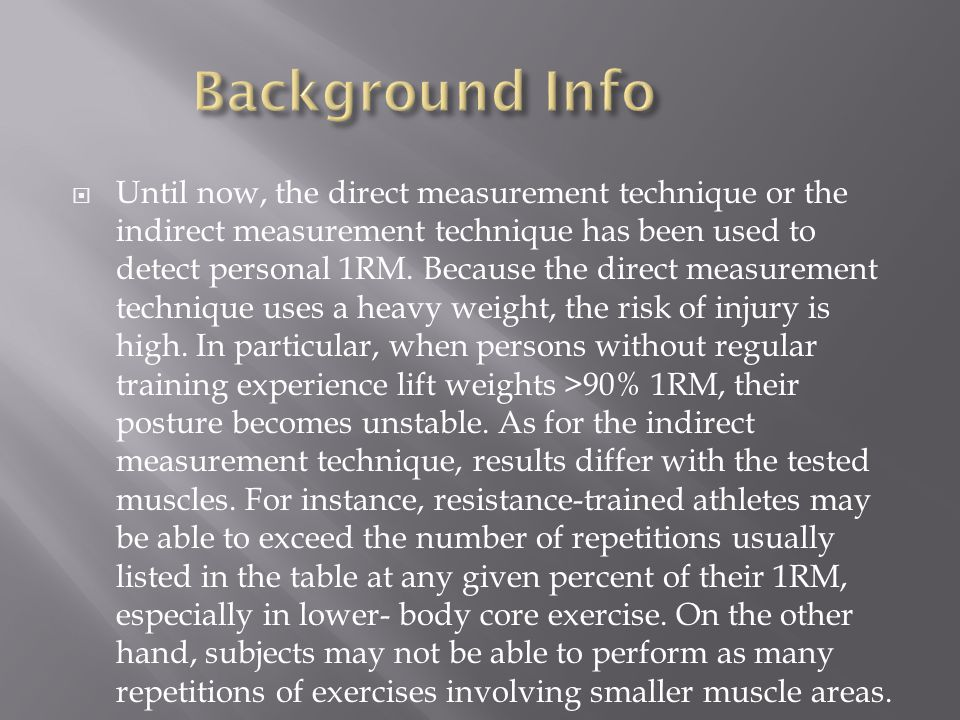  Until now, the direct measurement technique or the indirect measurement technique has been used to detect personal 1RM.