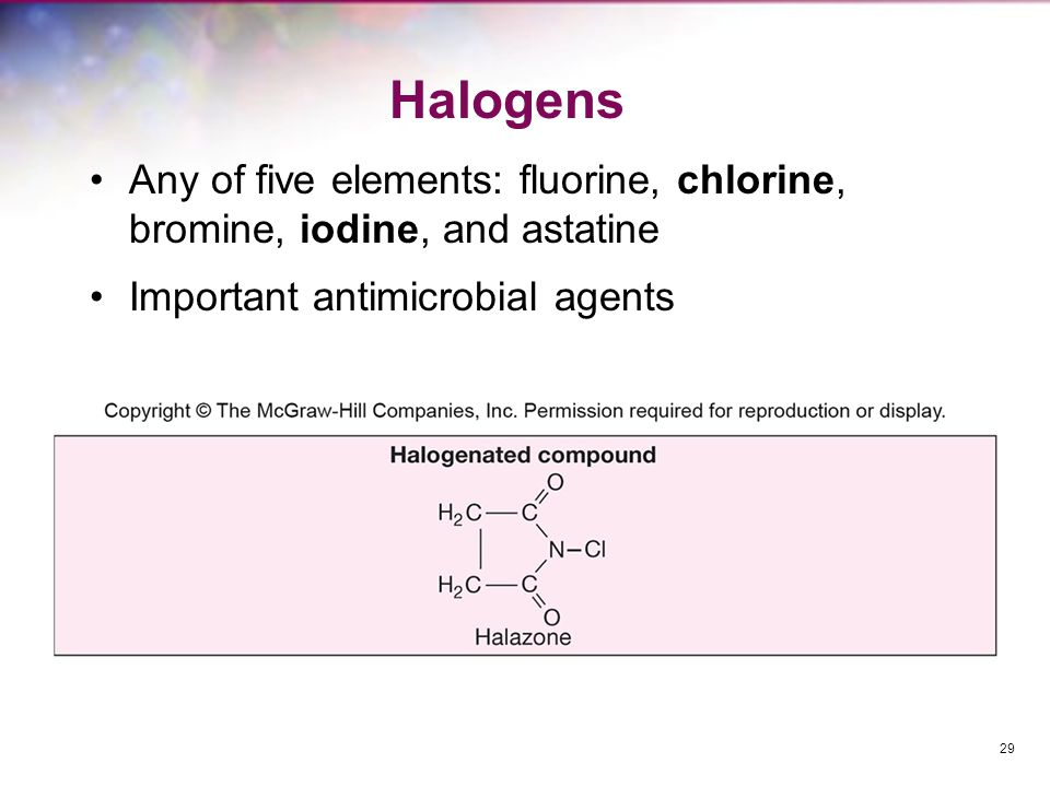 Halogens - Iodine Skin antiseptic Oxidizes cell constituents and iodinates proteins At high concentrations may kill spores Skin damage, staining, and allergies can be a problem Iodophore –iodine complexed with organic carrier –released slowly to minimize skin burns 30