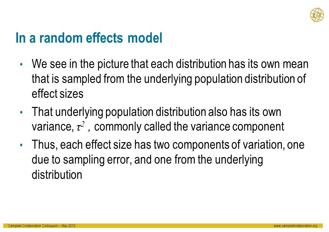 Campbell Collaboration Colloquium – May 2012www.campbellcollaboration.org In a random effects model We see in the picture that each distribution has its own mean that is sampled from the underlying population distribution of effect sizes That underlying population distribution also has its own variance, τ 2, commonly called the variance component Thus, each effect size has two components of variation, one due to sampling error, and one from the underlying distribution