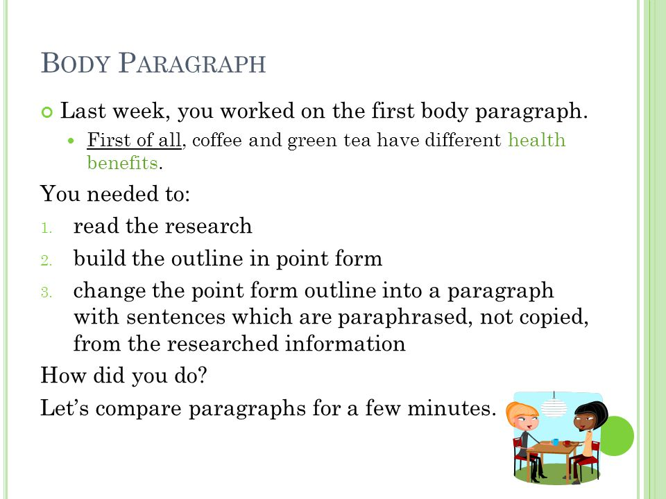 B ODY P ARAGRAPH Last week, you worked on the first body paragraph.