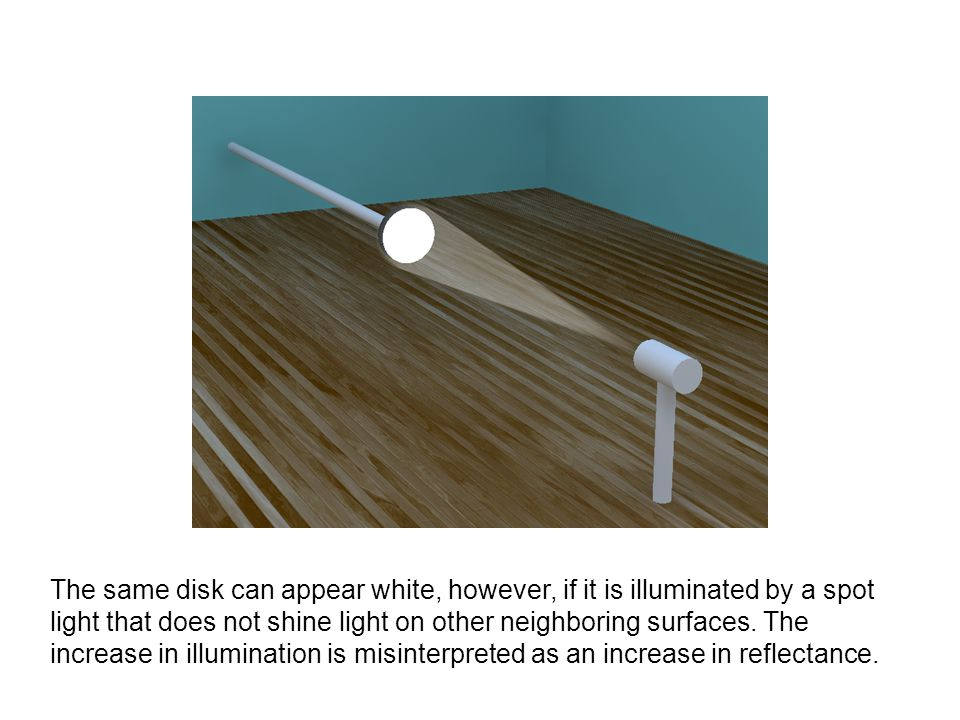 The same disk can appear white, however, if it is illuminated by a spot light that does not shine light on other neighboring surfaces. The increase in