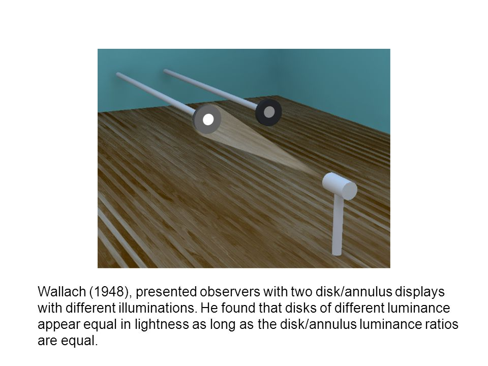 Wallach (1948), presented observers with two disk/annulus displays with different illuminations. He found that disks of different luminance appear equ