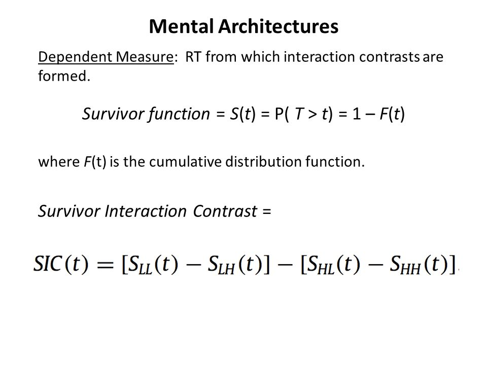 Mental Architectures Dependent Measure: RT from which interaction contrasts are formed.