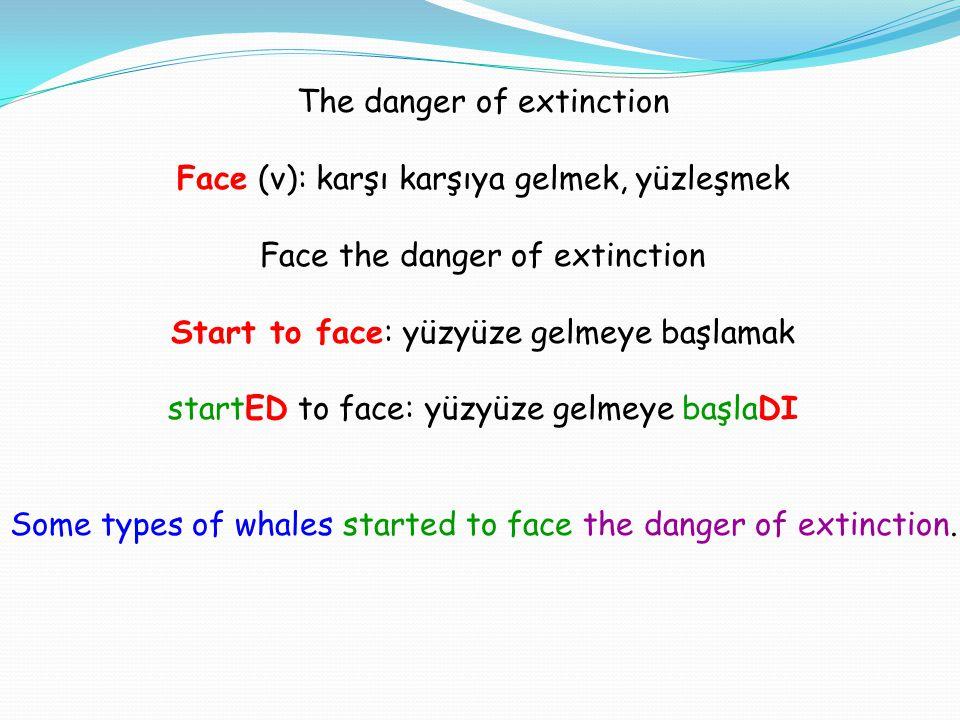 The danger of extinction Face (v): karşı karşıya gelmek, yüzleşmek Face the danger of extinction Start to face: yüzyüze gelmeye başlamak startED to face: yüzyüze gelmeye başlaDI Some types of whales started to face the danger of extinction.