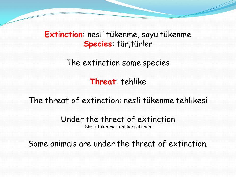 Extinction: nesli tükenme, soyu tükenme Species: tür,türler The extinction some species Threat: tehlike The threat of extinction: nesli tükenme tehlik