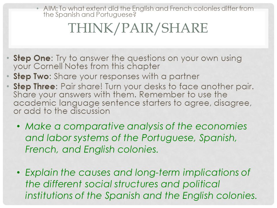 THINK/PAIR/SHARE Step One : Try to answer the questions on your own using your Cornell Notes from this chapter Step Two : Share your responses with a partner Step Three : Pair share.