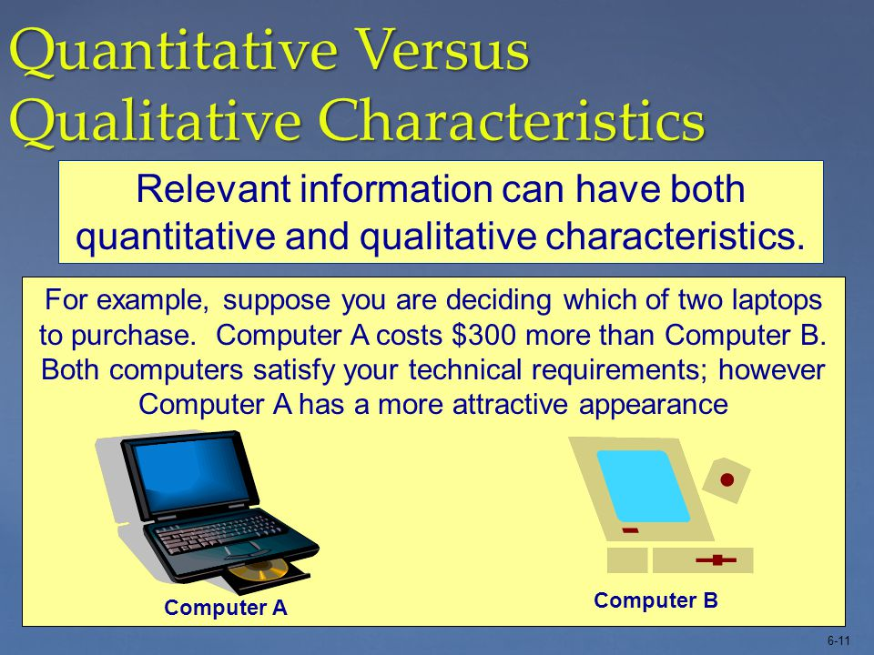 6-11 A quantitative focus considers the cost, increase in profits, or other numerical aspects of the decision. Quantitative Versus Qualitative Charact