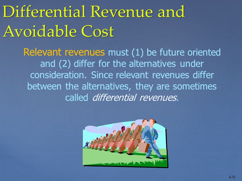 6-12 Differential Revenue and Avoidable Cost Relevant revenues must (1) be future oriented and (2) differ for the alternatives under consideration. Si