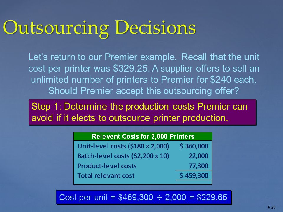 6-25 Outsourcing Decisions Let's return to our Premier example. Recall that the unit cost per printer was $329.25. A supplier offers to sell an unlimi