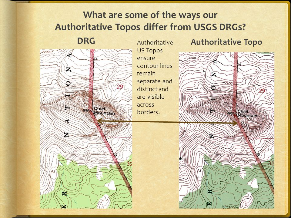 What are some of the ways our Authoritative Topos differ from USGS DRGs? DRG Authoritative Topo Authoritative US Topos ensure contour lines remain sep