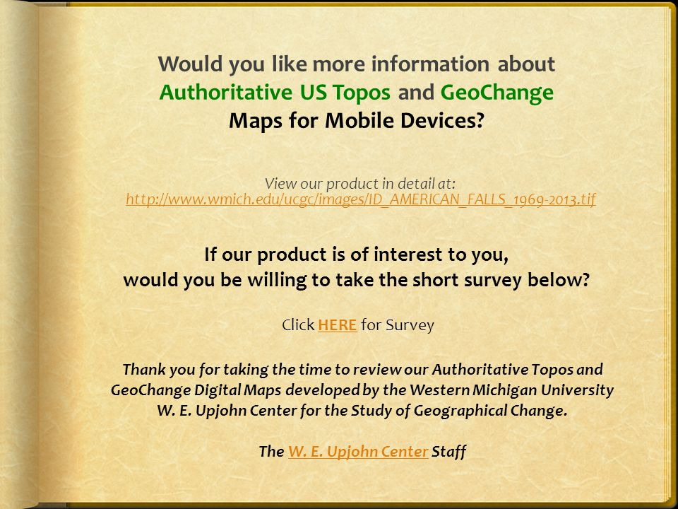 Would you like more information about Authoritative US Topos and GeoChange Maps for Mobile Devices.