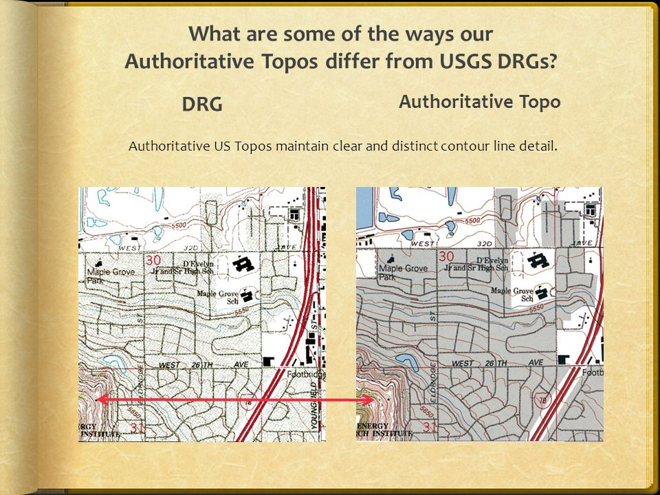 What are some of the ways our Authoritative Topos differ from USGS DRGs? DRG Authoritative Topo Authoritative US Topos maintain clear and distinct con