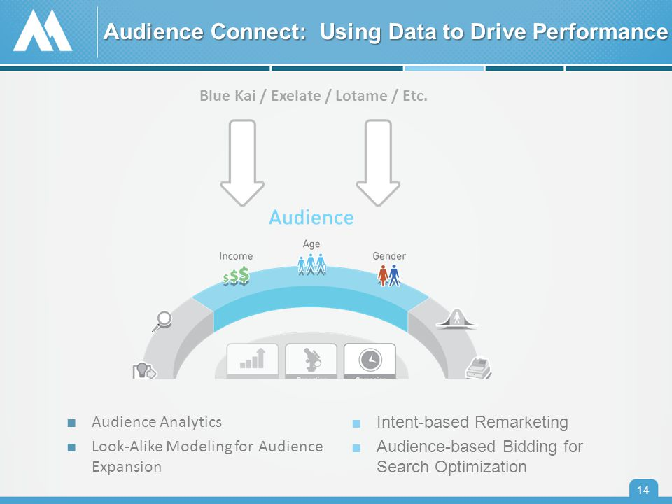 Audience Connect: Using Data to Drive Performance 14 ■ Audience Analytics ■ Look-Alike Modeling for Audience Expansion ■Intent-based Remarketing ■Audience-based Bidding for Search Optimization Blue Kai / Exelate / Lotame / Etc.