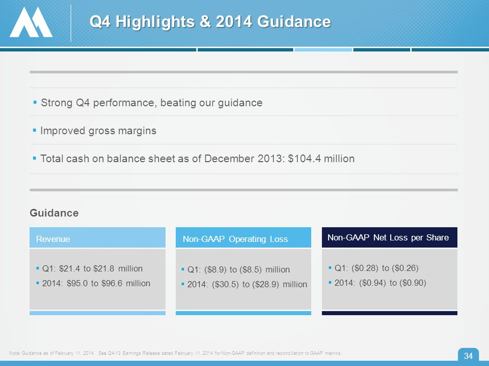 Q4 Highlights & 2014 Guidance 34 Note: Guidance as of February 11, 2014.