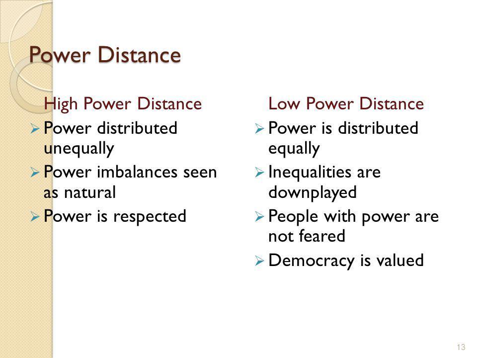 Power Distance High Power Distance  Power distributed unequally  Power imbalances seen as natural  Power is respected Low Power Distance  Power is