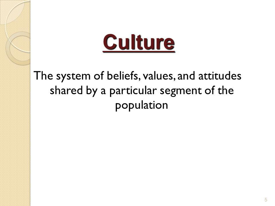 The system of beliefs, values, and attitudes shared by a particular segment of the population 5 Culture