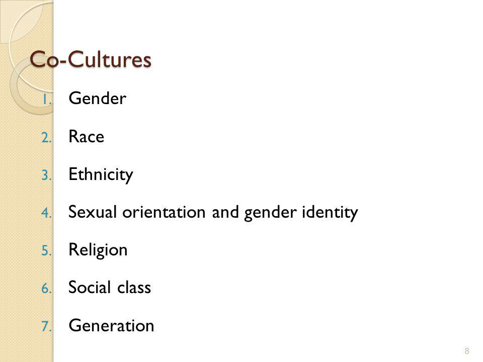 Co-Cultures 1. Gender 2. Race 3. Ethnicity 4. Sexual orientation and gender identity 5. Religion 6. Social class 7. Generation 8