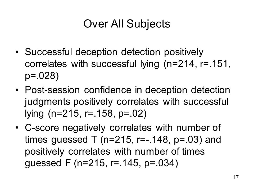 Successful deception detection positively correlates with successful lying (n=214, r=.151, p=.028) Post-session confidence in deception detection judgments positively correlates with successful lying (n=215, r=.158, p=.02) C-score negatively correlates with number of times guessed T (n=215, r=-.148, p=.03) and positively correlates with number of times guessed F (n=215, r=.145, p=.034) 17 Over All Subjects