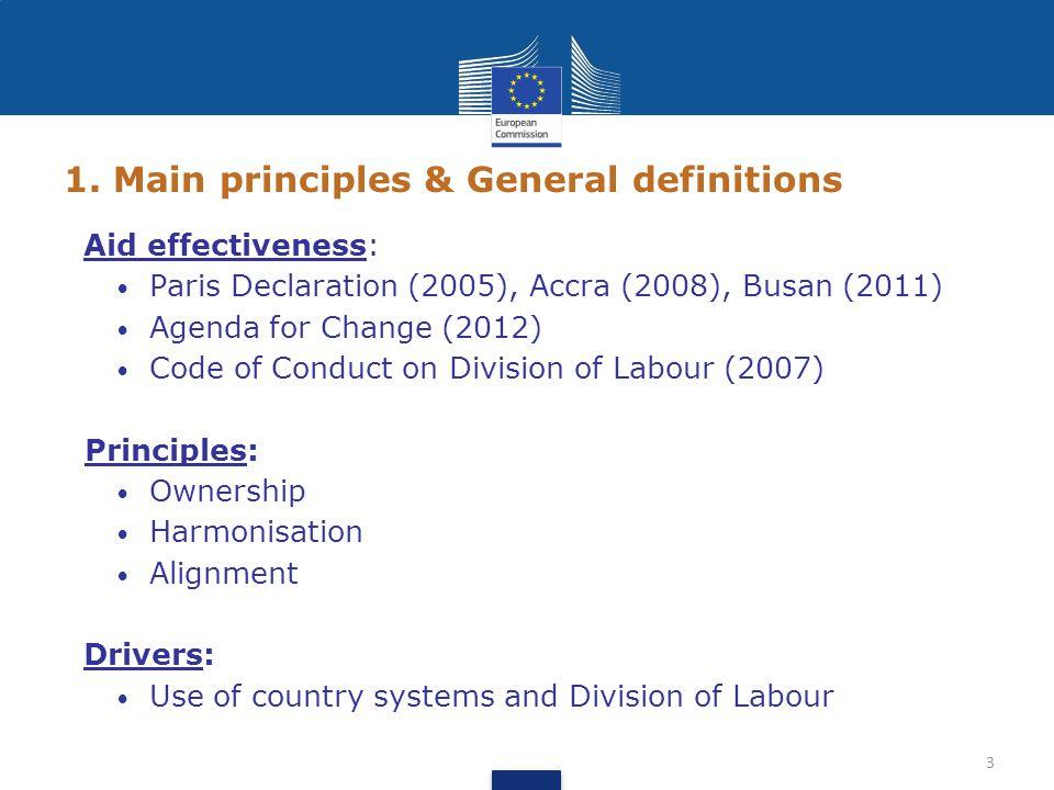 1. Main principles & General definitions Aid effectiveness: Paris Declaration (2005), Accra (2008), Busan (2011) Agenda for Change (2012) Code of Cond