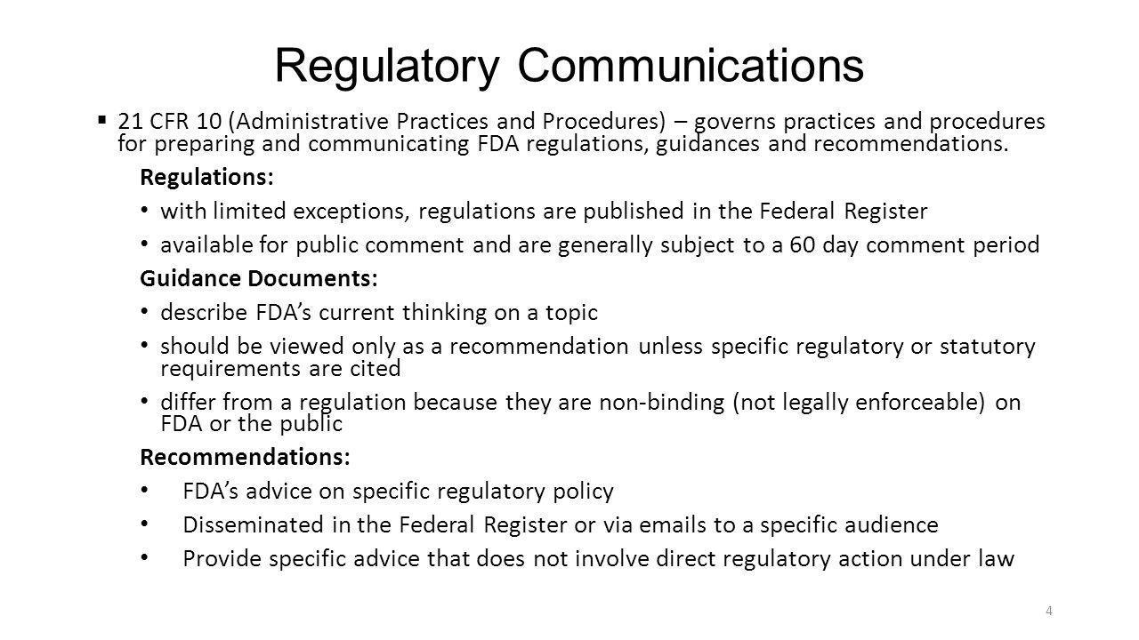 Regulatory Communications (Continued)  Three (3) Types of Regulatory Communications – Citizen Petitions, Suitability Petitions and Advisory Opinion 1.